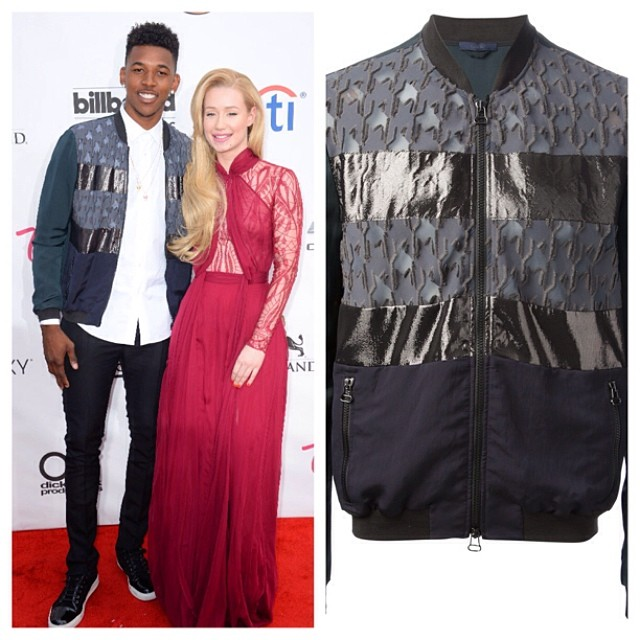 STYLE: Lakers Nick Young Attends 2014 Billboard Music Awards In Lanvin Houndtooth Panel Bomber Jacket