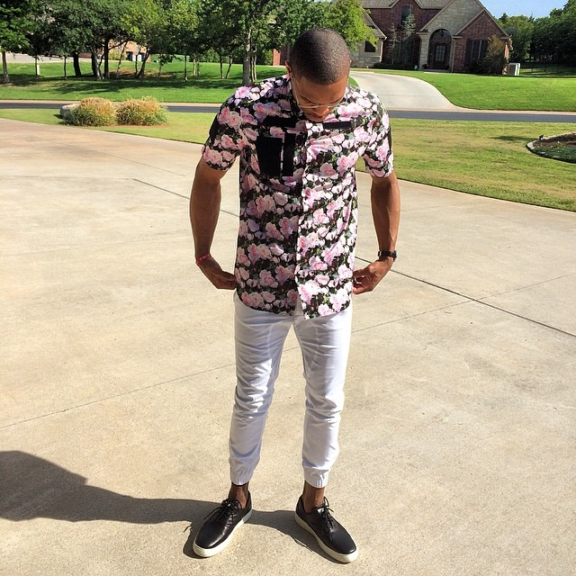d382c328de ... STYLE  Russell Westbrook s Givenchy Rose Print Shirt 2014 NBA Playoffs  Game 3 Rd.2 ...
