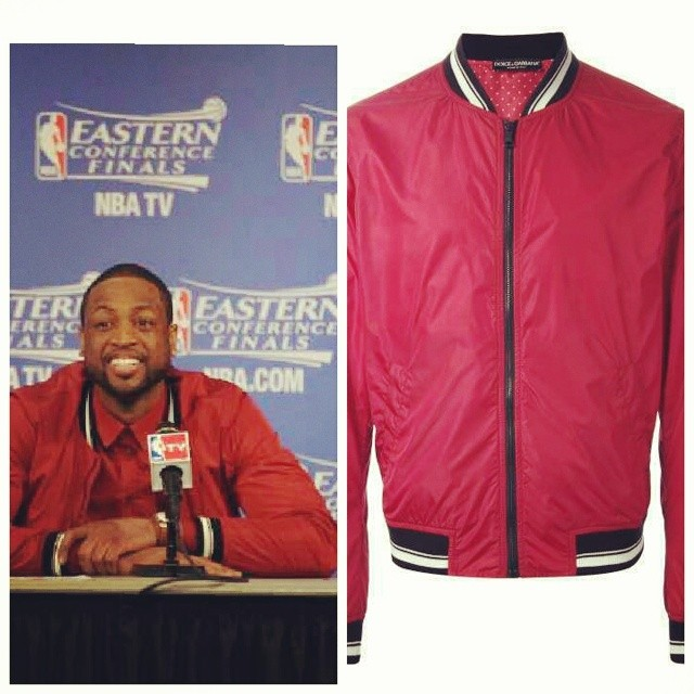 STYLE: Dwyane Wade's Dolce & Gabbana Bomber Jacket ECF Game 6 2014 NBA Playoffs