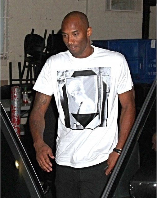STYLE: Kobe Bryant's Givenchy Print T-shirt and Nike Kobe 9 sneakers.