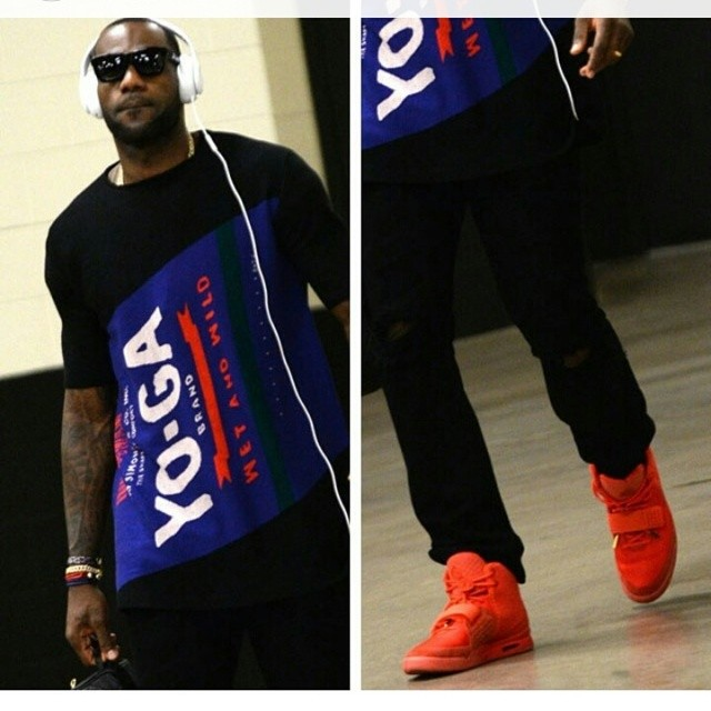 "STYLE: Lebron James' Air Yeezy 2 ""Red October"" sneakers & Raf Simons YO-GA Print Shirt 2014 NBA Finals Game 1"