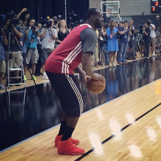 timeless design d076d 2fb57 STYLE  Lebron James Practices in Nike Air Yeezy 2  Red October  sneakers.
