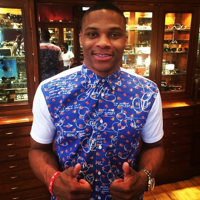 STYLE: Russell Westbrook's Comme Des Garcons Mickey Mouse Print Shirt.