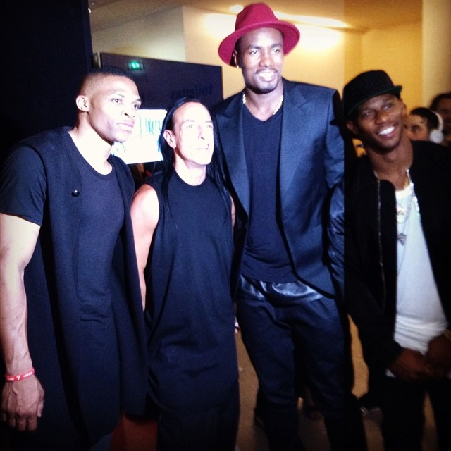 STYLE: Russell Westbrook, Serge Ibaka, & Victor Cruz attend Paris Fashion Week Rick Owens Spring/Summer 2015 Runway Show