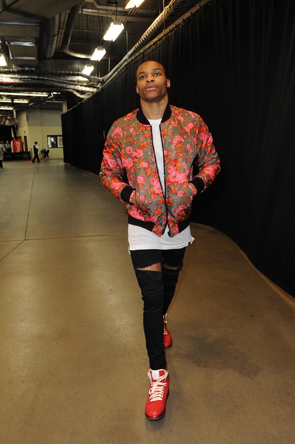 Style Russell Westbrook 39 S Msgm Floral Print Bomber Jacket Game 4 Wcf 2014 Nba Playoffs More