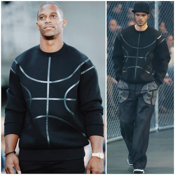 Victor-Cruz-paris-fashion-week-Givenchy-Basketball-sweater-givenchy-tyson-high-top-sneakers-givenchy-spring-2015-show