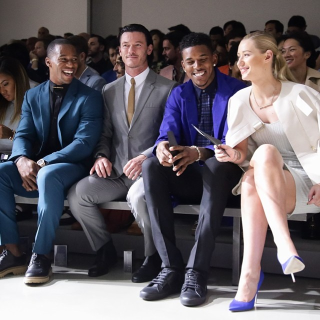 Victor Cruz & Nick Young Attend Calvin Klein S/S 2015 Menswear Show For Milan Fashion Week