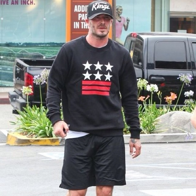 STYLE: David Beckham's Givenchy Star & Stripe Sweatshirt