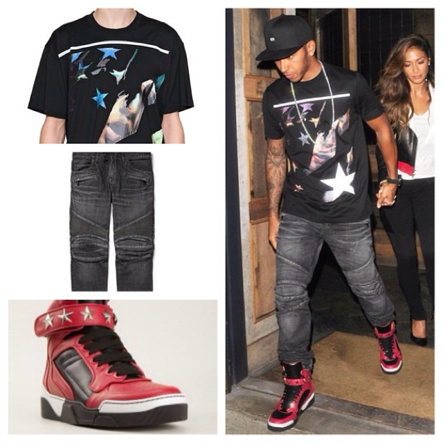 STYLE: F1 Driver Lewis Hamilton's Givenchy Print T-shirt, Balmain Denim Biker Jeans, & Givenchy 'Tyson' Sneakers