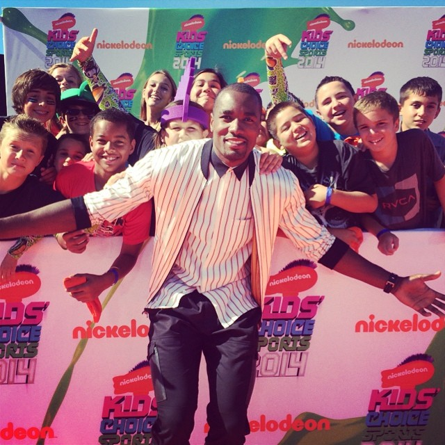STYLE: NBA Serge Ibaka 2014 Nickelodeon Kids Choice Sports Awards 3.1 Phillip Lim S/S '15 Striped Jacket and Shirt