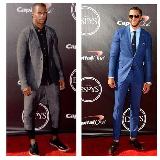 Victor-Cruz-Rick-Owens-Colin-Kaepernick-ISAIA-suit-2014-ESPY-ESPYS