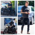 David-Beckham-bikes-wearing-Saint-Laurent-denim-jeans-motorcyle-bike