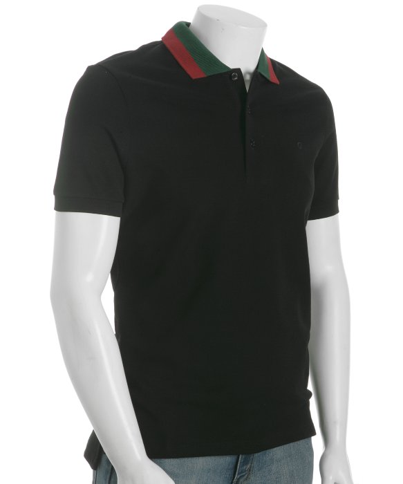 Kobe-Bryant-Lenovo-Event-Gucci-black-pique-web-striped-collar-polo-1