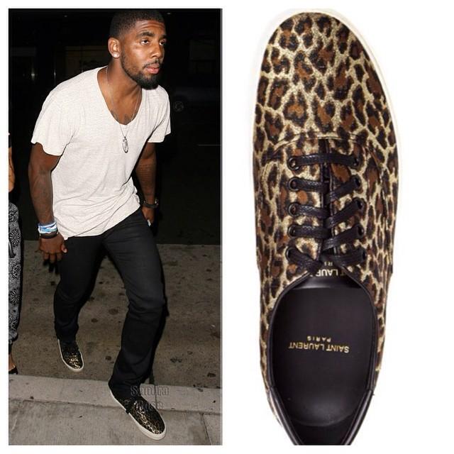 STYLE: NBA Kyrie Irving's Saint Laurent Metallic Leopard Print Skate Shoes.