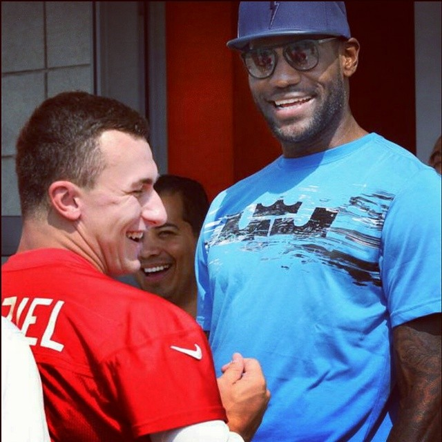 STYLE: Lebron James Visits Johnny Manziel Wearing TACKMA 'Thunder T' Hat