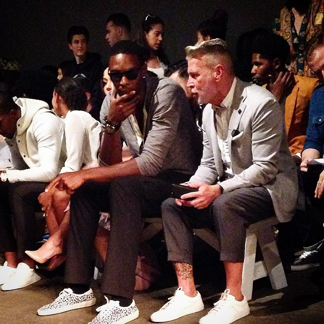 Chris-Bosh-NYFW-Mark-McNairy-spring-2015-saint-laurent-leopard-print-sneakers
