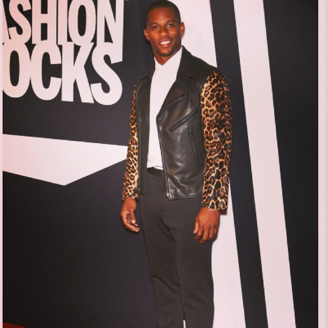 Victor-Cruz-Ovadia-and-sons-motorcycle-jacket-leopard sleeves-Carmelo-Anthony-NYFW-spring-summer-2015