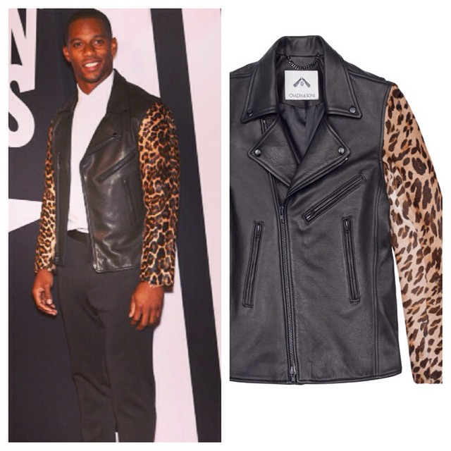STYLE: Victor Cruz Wears Ovadia & Sons Leather And Leopard Motorcycle Jacket For Fashion Rocks Concert