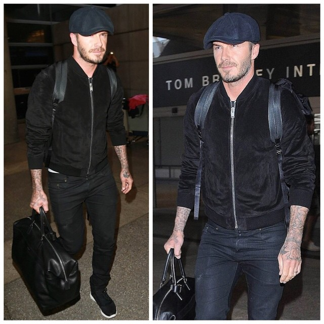 STYLE: David Beckham's Saint Laurent Suede Bomber Jacket