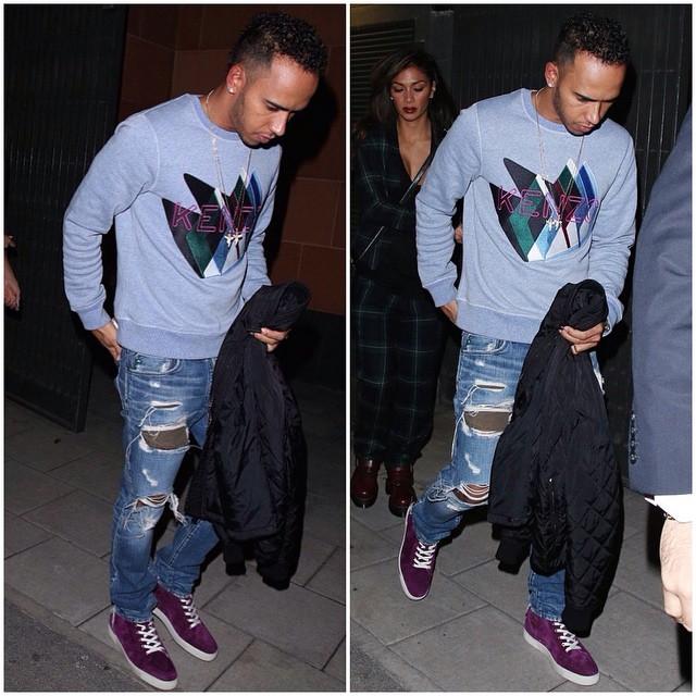 STYLE: F1 Lewis Hamilton's Kenzo Sweatshirt & Christian Louboutin Purple Suede Sneakers