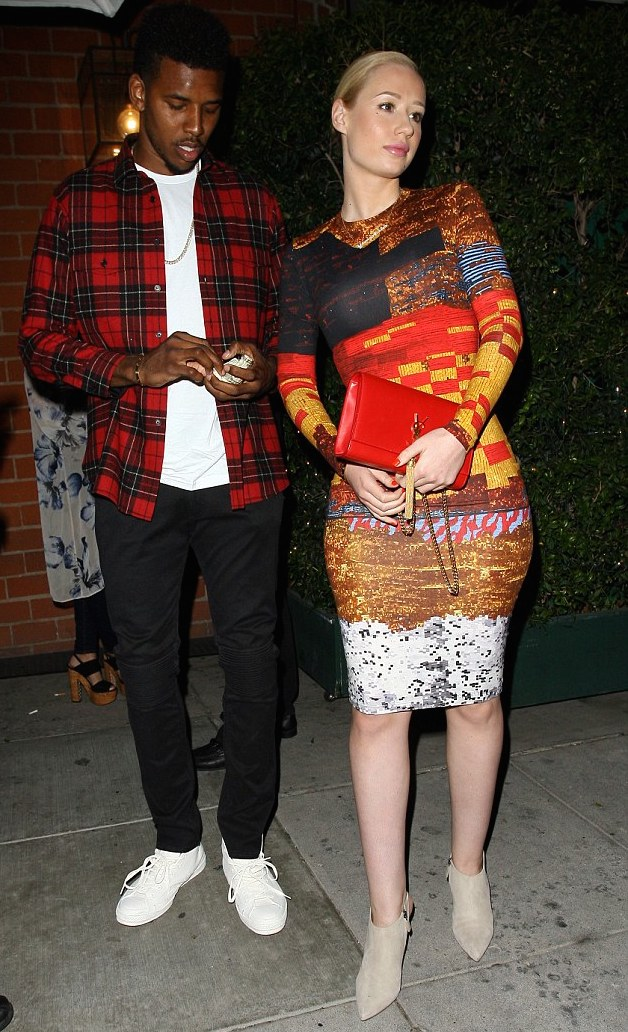 Nick-Young-plaid-wool-flannel-shirt-Iggy-Azaleas-Mr.-Chows-Restaurant-Givenchy-Sequin-Cotton-Printed-Tribal-Dress