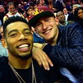 Joe-Haden-and-Johnny-Manziel-Courtside-at-Cleveland-Caviliers-Opening-Night-Game-31-Phillip-Lim-Jacket-1