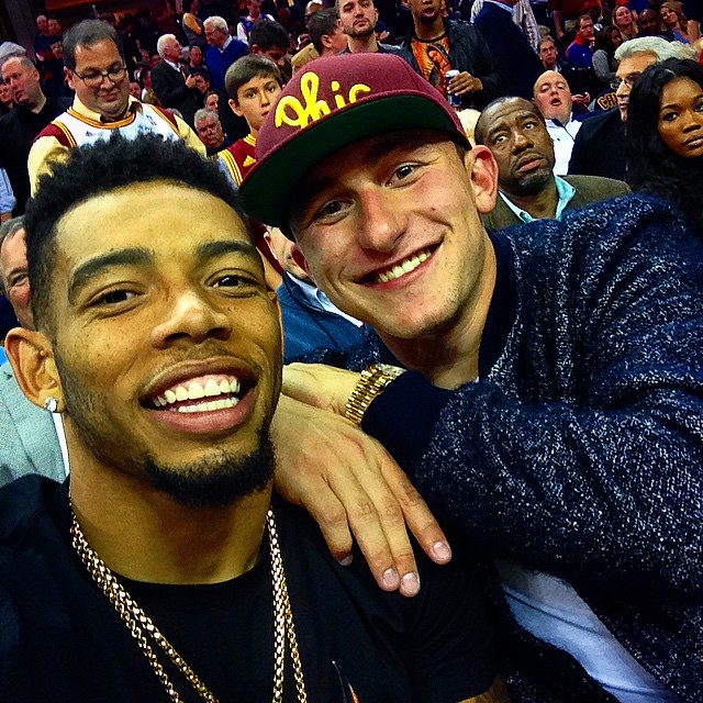 STYLE; Johnny Manziel Wears 3.1 Phillip Lim Harrington Bomber Jacket For Cleveland Cavaliers Season Opener