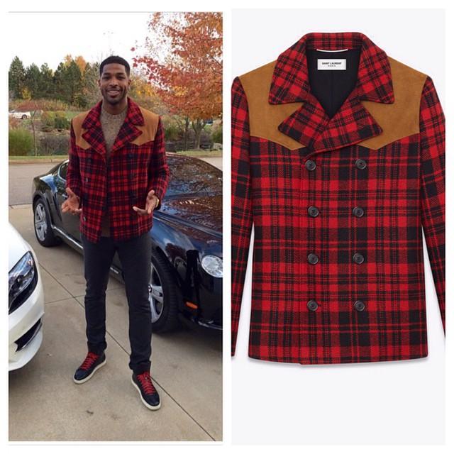 STYLE: NBA Tristan Thompson's Saint Laurent Plaid Wool Coat