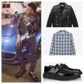 Nick-Young-saint-laurent-leather-biker-jacket-flannel-shirt-strap-creepers-shoes