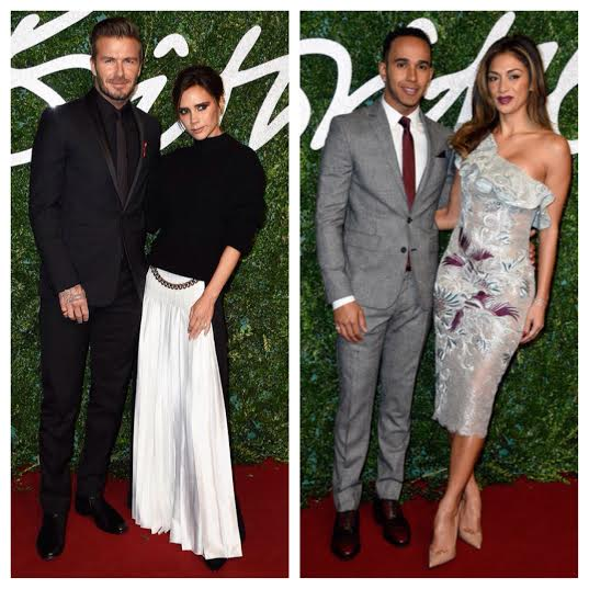 STYLE: David Beckham And Lewis Hamilton Attend 2014 British Fashion Awards