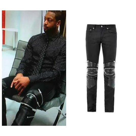 STYLE: Dwyane Wade's Saint Laurent Leather and Denim Zip-Detail Biker Jeans