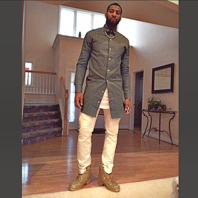 Andre-Drummond-NBA-Long-button-down-shirt-blue-custom-boots