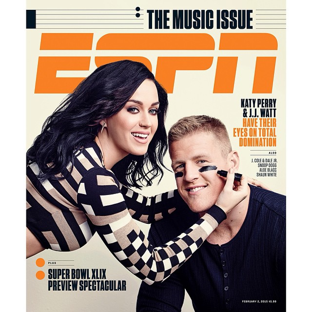 NFL J.J. Watt Covers ESPN The Magazine 'The Music Issue' With Pop Star Katy Perry
