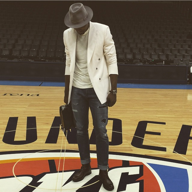 serge-ibaka-double-breasted-blazer-wool-fedora-jeans-boots