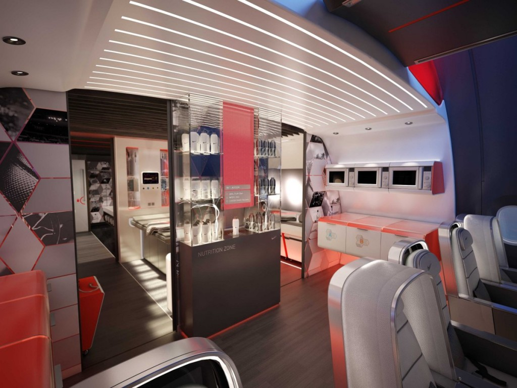 Nike-Themed Airplane Interior Designed For Pro Athletes