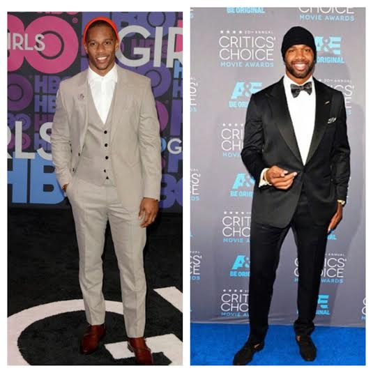 STYLE  NFL Victor Cruz And Marcedes Lewis Wear Beanie Hats With Suits 78b745335d10