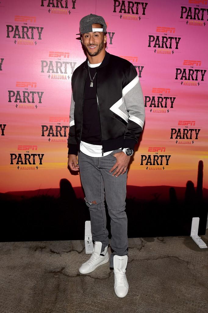 NFL Colin Kaepernick's ESPN Super Bowl Party Neil Barret Panelled Bomber Jacket & Saint Laurent High-Top Sneakers