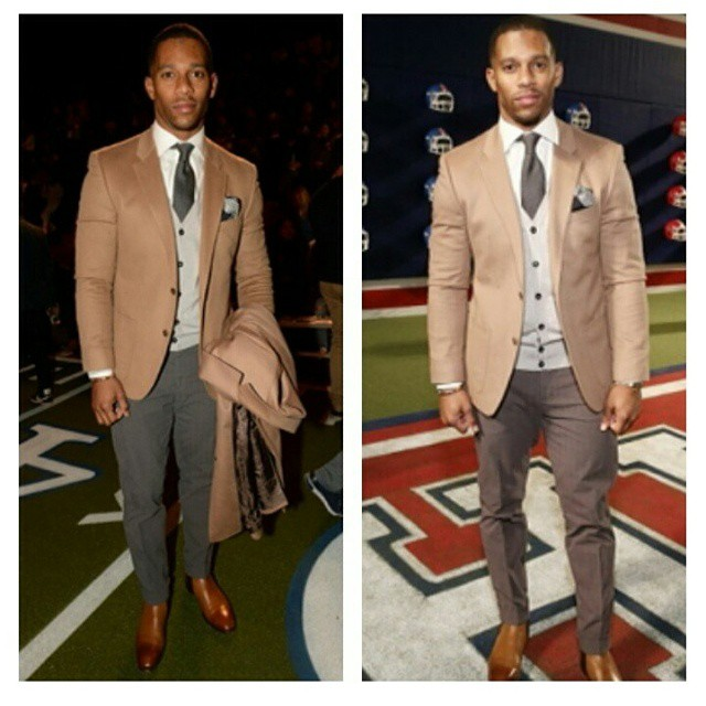 STYLE: NFL Victor Cruz Attends Super Bowl-Inspired Fashion Show By Tommy Hilfiger For NYFW