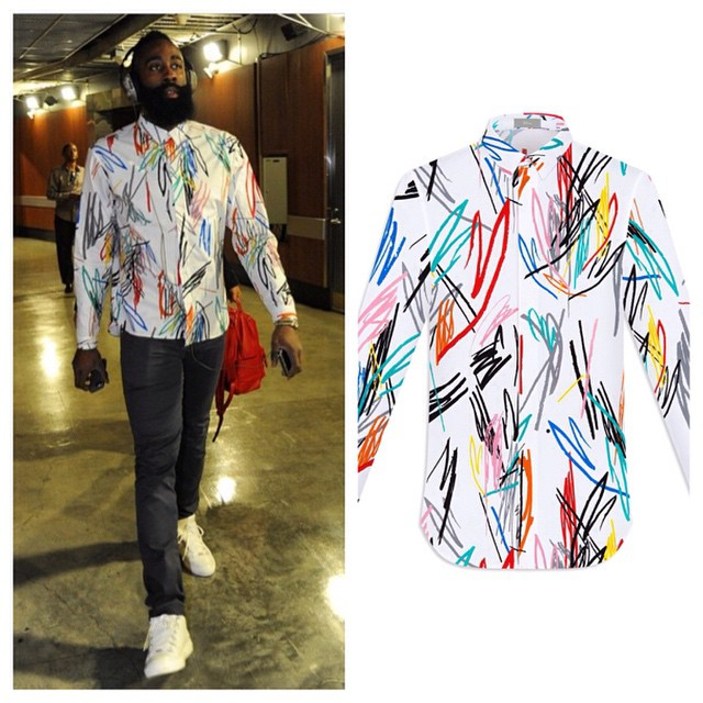STYLE: James Harden Wears Scribble Design Dior Print-All-Over Shirt