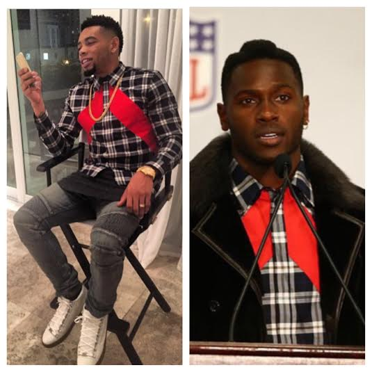 STYLE: NFL Joe Haden VS Antonio Brown Wearing Givenchy Slim-fit Plaid and Stripe sportshirt