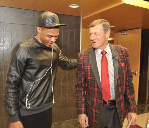 Russell Westbrook Greets Craig Sager In Return Wearing Westbrook XO Barneys New York X Jordan Leather Sweatshirt