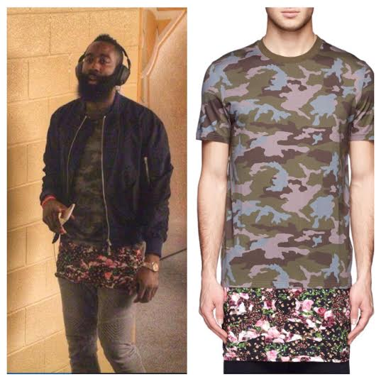 """Is That A Skirt?"" NBA James Harden Wears Givenchy Camo & Floral-Print Bottom Long T-shirt"