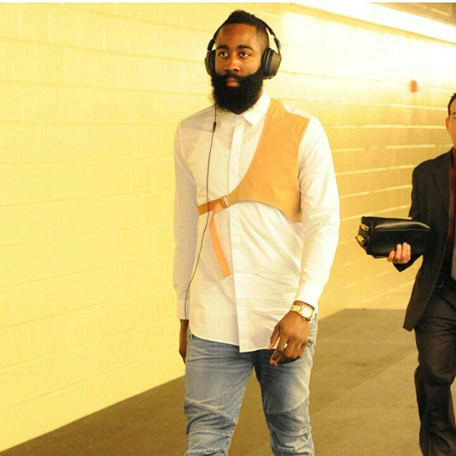 STYLE: NBA James Harden's Dries Van Noten Spring 2015 Harness-shirt combo