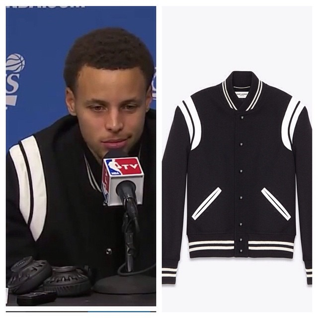 STYLE: Steph Curry Wears Saint Laurent Trim Wool Varsity Jacket