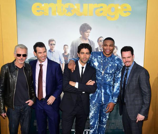 STYLE: Russell Westbrook's Entourage Movie Premiere Dsquared2 Bleach Splatter Denim Set