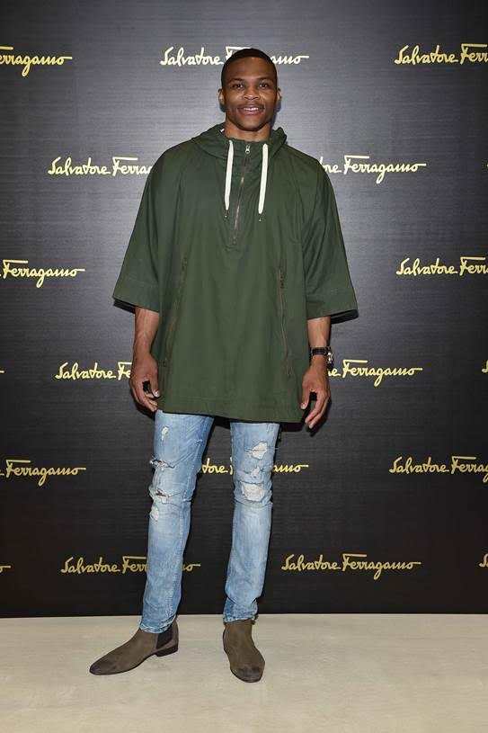 Russell Westbrook Attends Milan Fashion Week Shows For Salvatore Ferragamo, Marcelo Burlon, Gorgio Armani