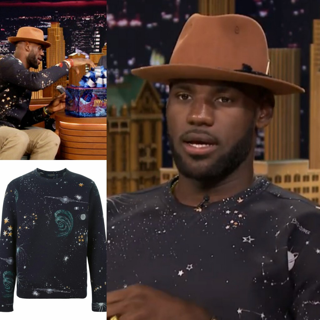 Lebron James' Jimmy Fallon Valentino Universe Print Sweatshirt And 'Trainwreck' Lebron 12 Low Sneakers