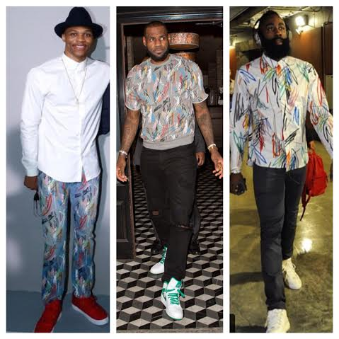 Lebron James, Russell Westbrook, And James Harden Wear Dior Homme 'Scribble' Designs