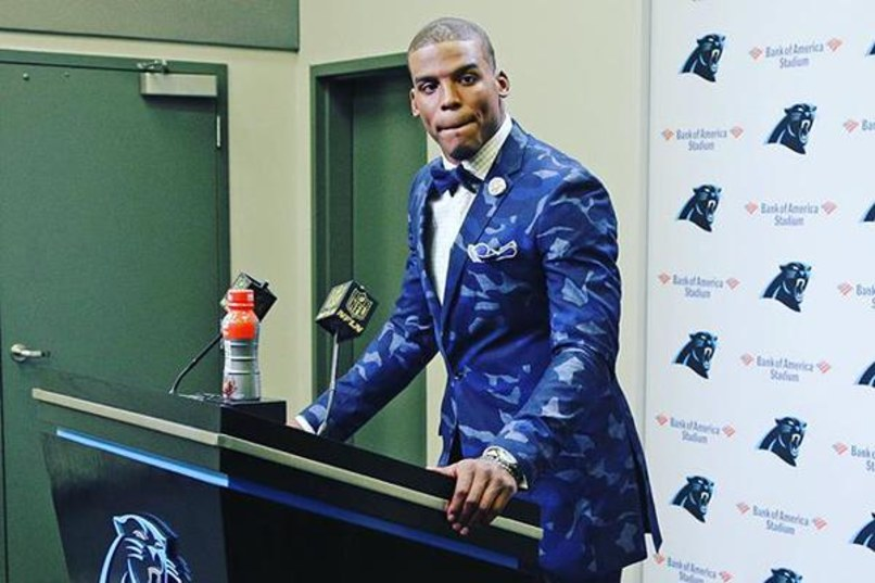 NFL Star Cam Newton's Camo Suit Was His Biggest Highlight Sunday