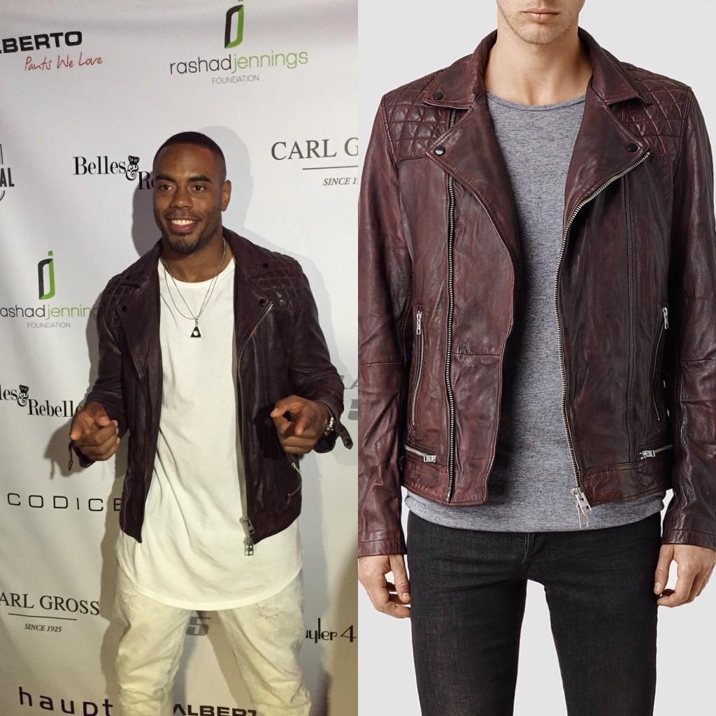 STYLE: NFL Rashad Jennings' All Saints Conroy Leather Biker Jacket